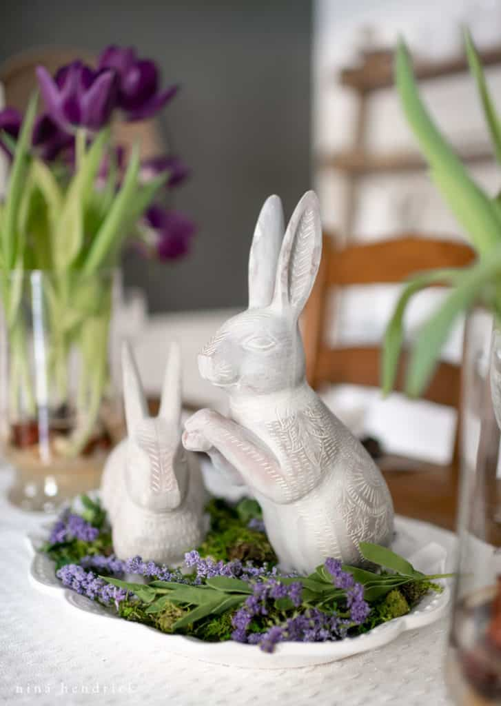 Purple spring tablescape with a bunny vignette.