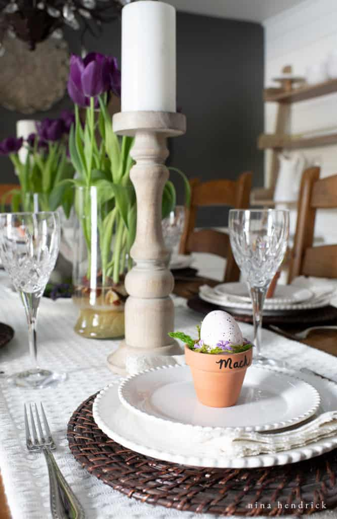 Easter dining room for a purple spring tablescape.