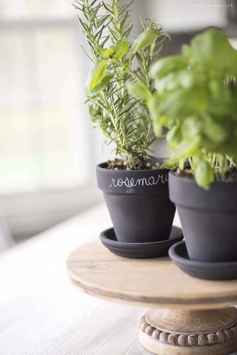 Chalkboard Herb Pots are a quick and easy gift idea for a teacher gift, Mother's Day, and spring!