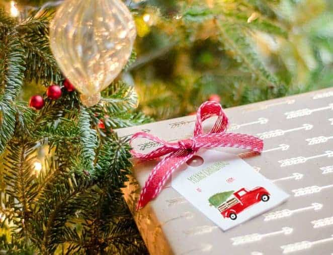 Red Christmas Truck Gift Tags