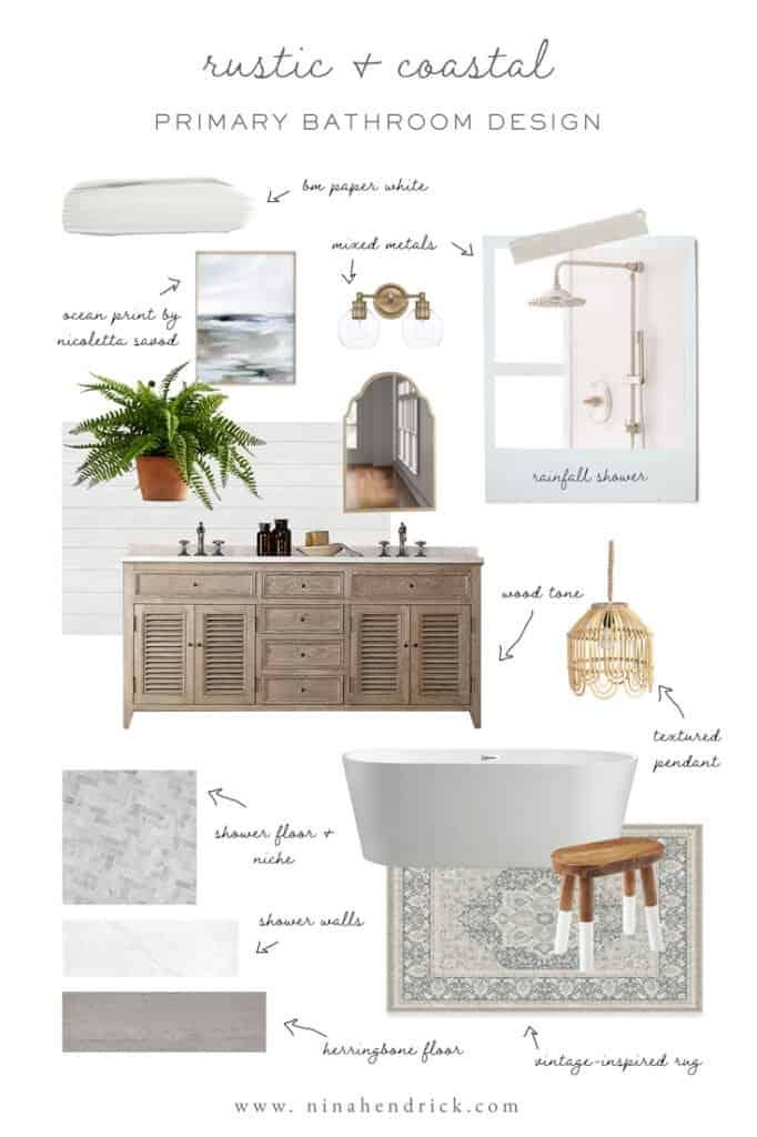 coastal primary bathroom design mood board