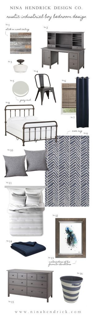 Rustic Industrial Boy Bedroom Design   Gather inspiration from this Mood Board for a Rustic Industrial Boy Bedroom Design from Nina Hendrick Design Co.