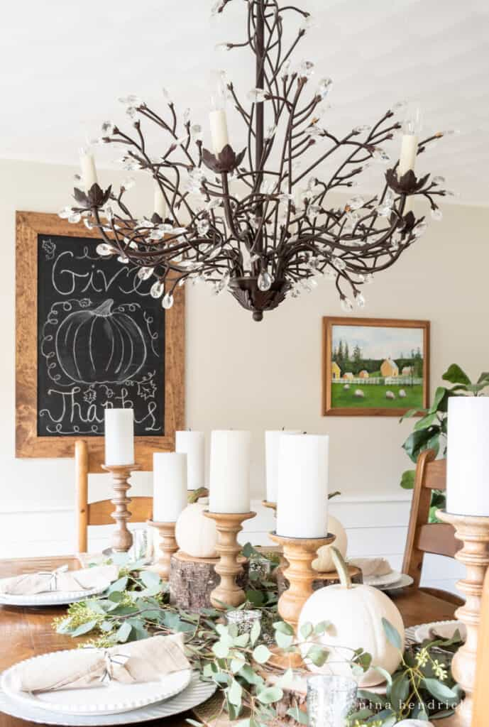 """Rustic Thanksgiving Tablescape with """"give thanks"""" chalkboard art"""