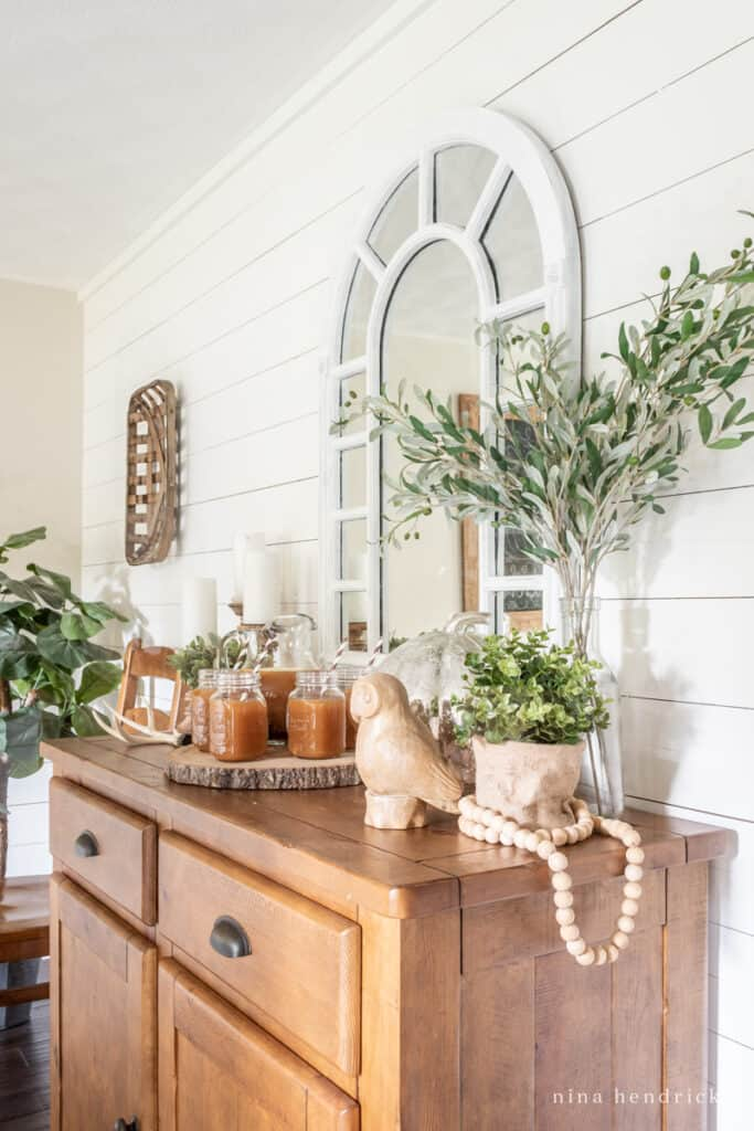 Shiplap wall and buffet set with an apple cider bar