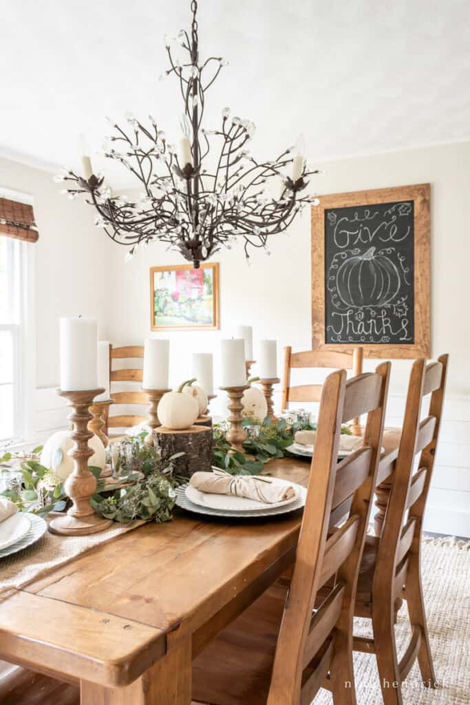 Edgecomb Gray Dining Room decorated for Thanksgiving with a warm pine table