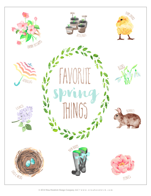 Favorite Spring Things Vignette & Free Printable