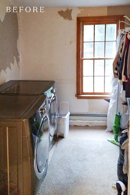 second-floor laundry room before