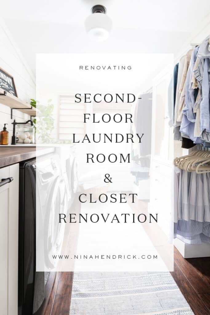 Considering moving your laundry room upstairs? Learn how we diverted an awkward hallway to create a second-floor laundry room and closet.