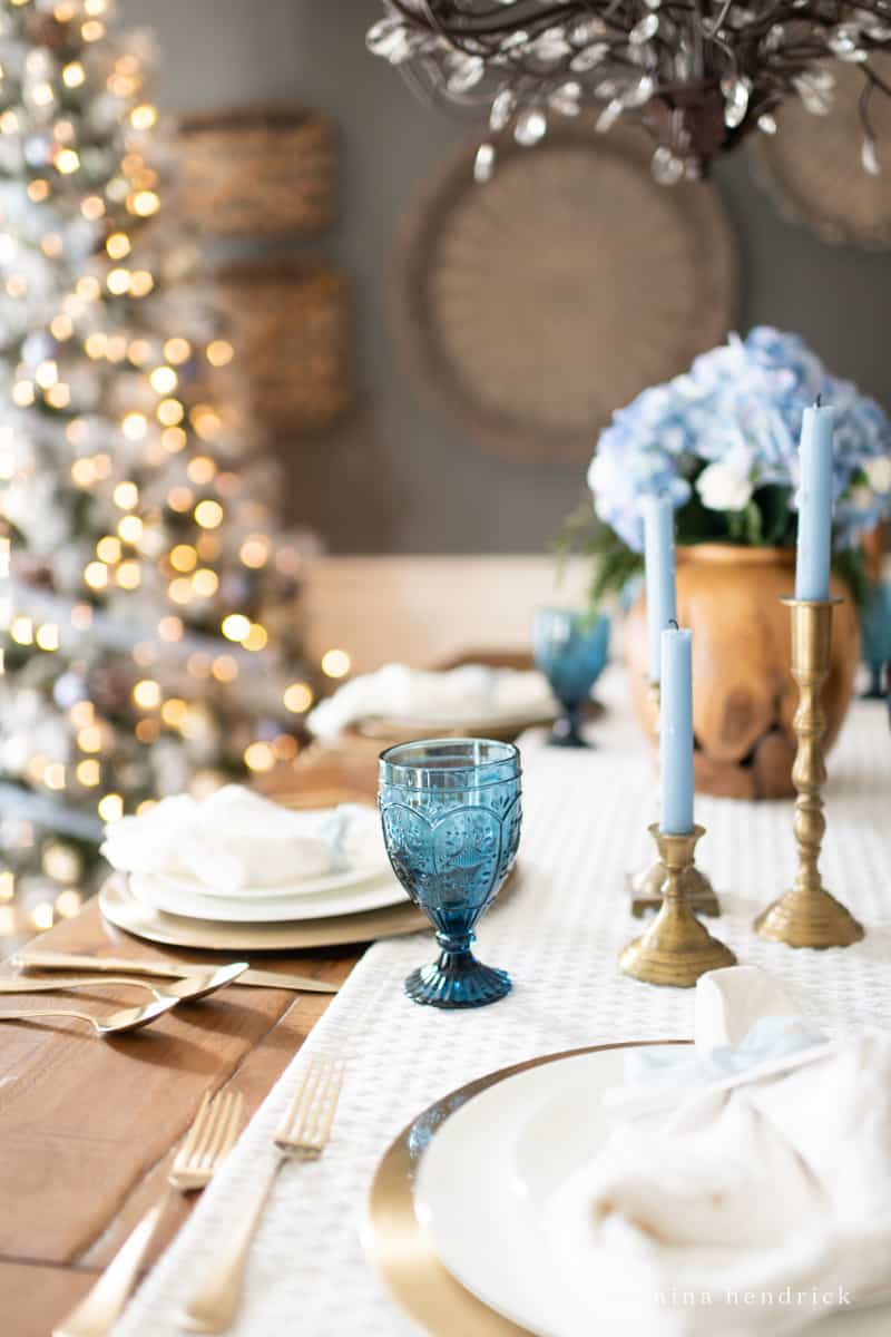 Simple Blue Christmas Tablescape Nina Hendrick Home