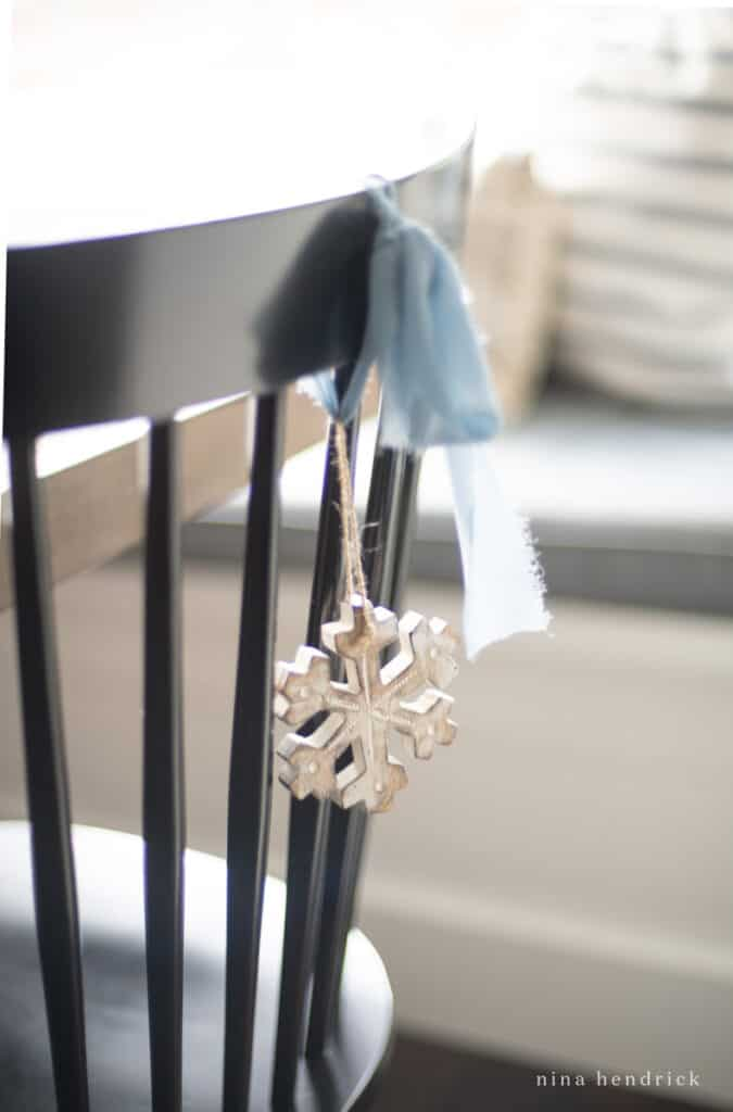 Blue Ribbon and ornament on chair