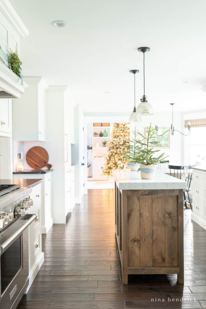 Simple Blue Christmas Kitchen Decor in the Kitchen with tree in the background | Nina Hendrick Home