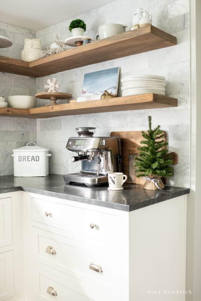 White cabinets and wooden shelves kitchen Christmas Decor | Nina Hendrick Home
