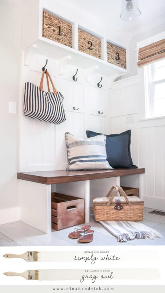 Benjamin Moore Simply White Mudroom with Built-In Bench