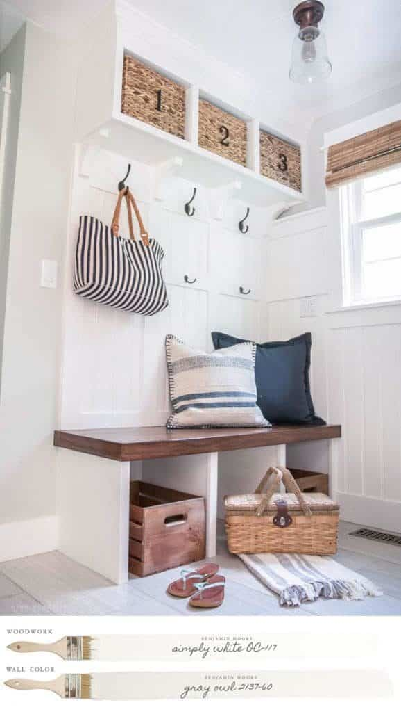 New England Farmhouse Neutral Paint Color Scheme | Mudroom with custom-built storage painted Benjamin Moore's Simpy White.