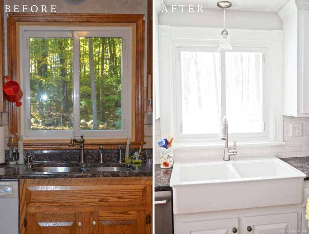 before and after white kitchen cabinets diy white painted kitchen cabinets reveal 9091