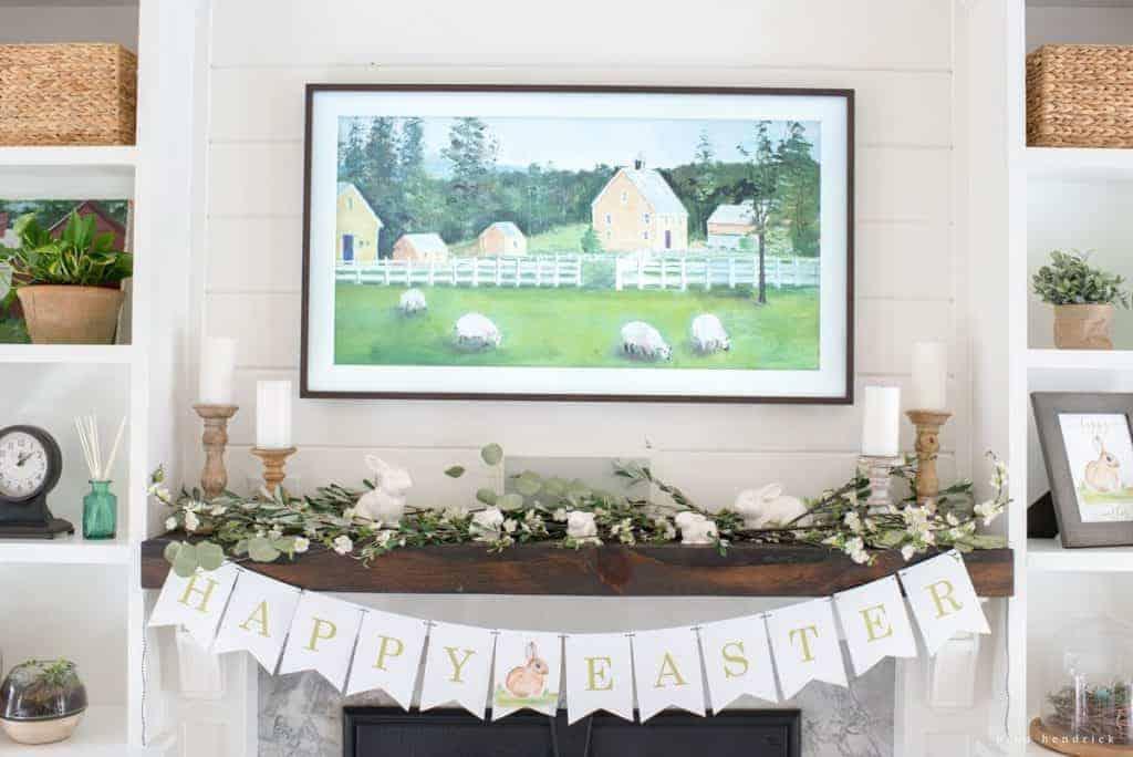 image of spring mantel decor