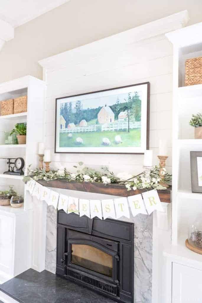 spring mantel decor side angle