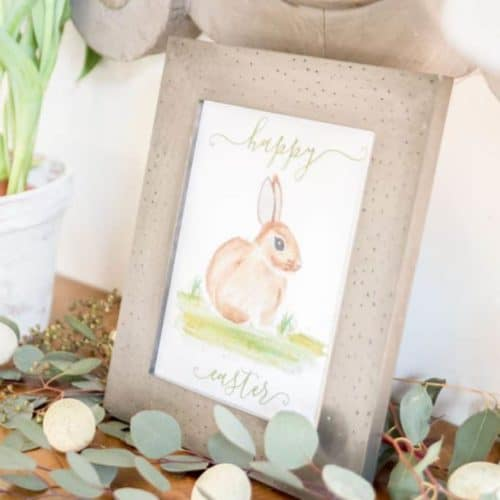 Nina Hendrick Design Co. | Download this free Easter Watercolor Bunny Printable to help celebrate and decorate for spring.