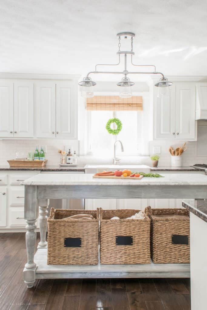 DIY Kitchen Island With Baskets In A White Kitchen