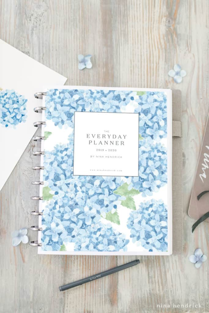 Printable Planner with hydrangea watercolor cover.