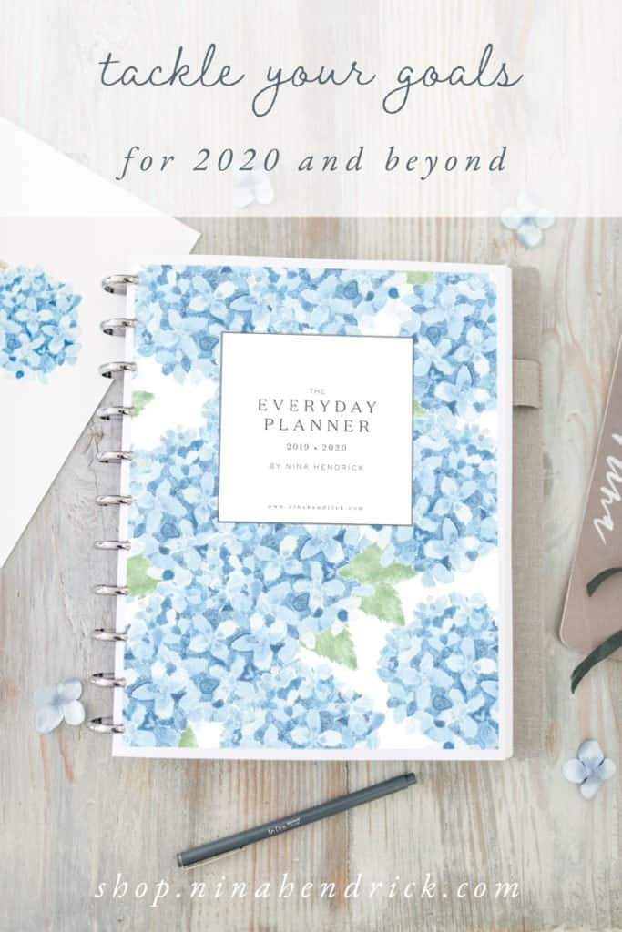 Printable The Everyday Planner with watercolor hydrangea Cover