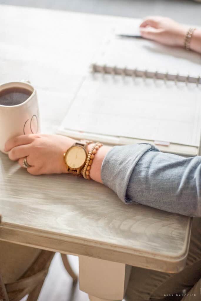 Arm with watch | time management tips from a work-at-home- mom