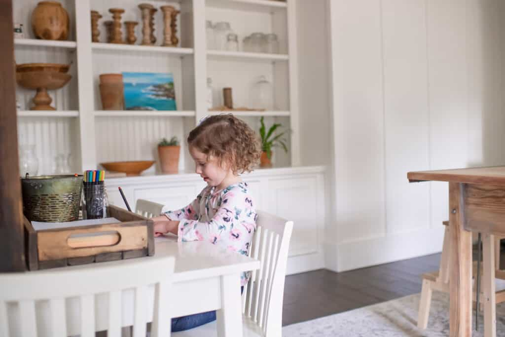 Little girl remote learning