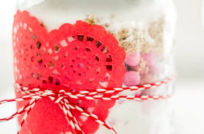 Valentine's Day Candy Cookie Mix Jar Gift Idea