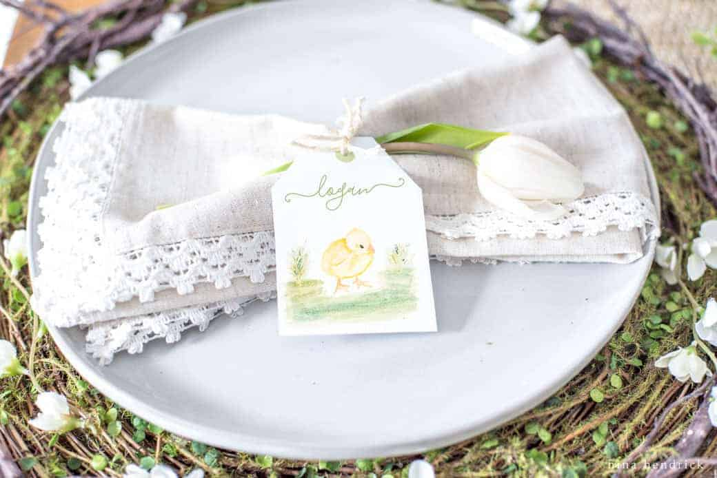Printable Watercolor Easter Place Cards | Print out these free watercolor Easter place cards. They are the perfect personalized touch for your spring gathering!