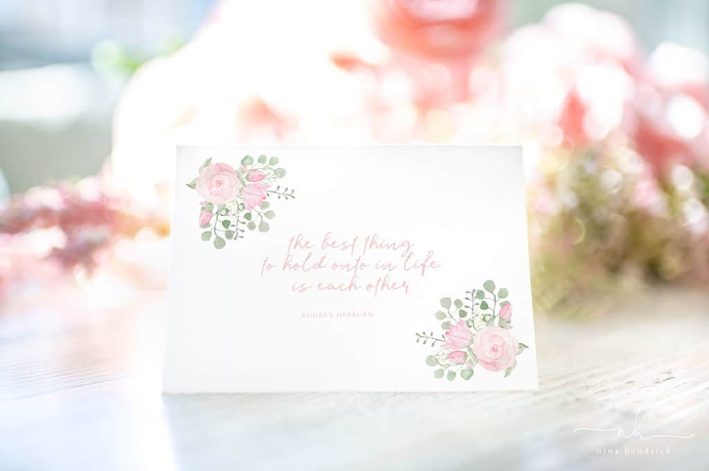 Watercolor Floral Printable Notecards with Audrey Hepburn Quote