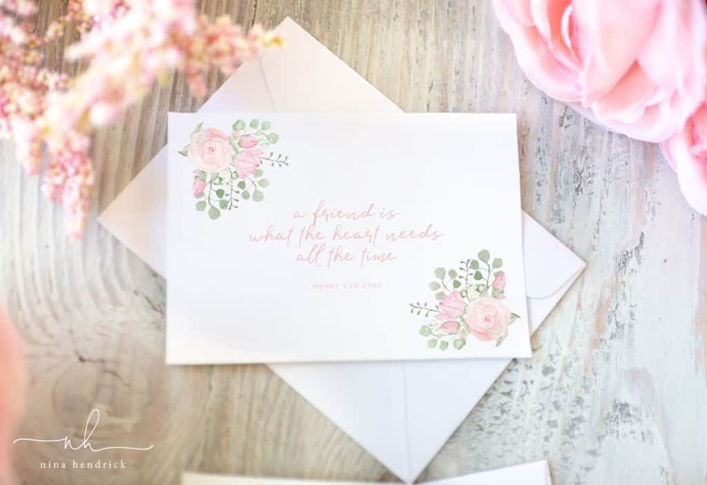 Watercolor Floral Printable Notecards with Henry Van Dyke Quote