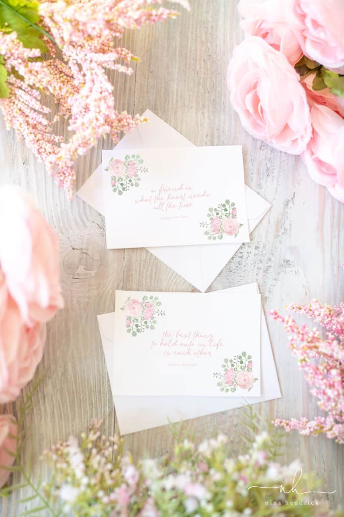 Watercolor Floral Printable Notecards