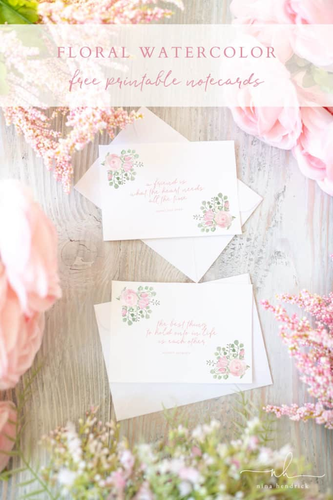 Watercolor Floral Printable Notecards with Audrey Hepburn and Henry Van Dyke Quotes