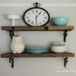 DIY Rough Cut Weathered Pine Kitchen Shelves