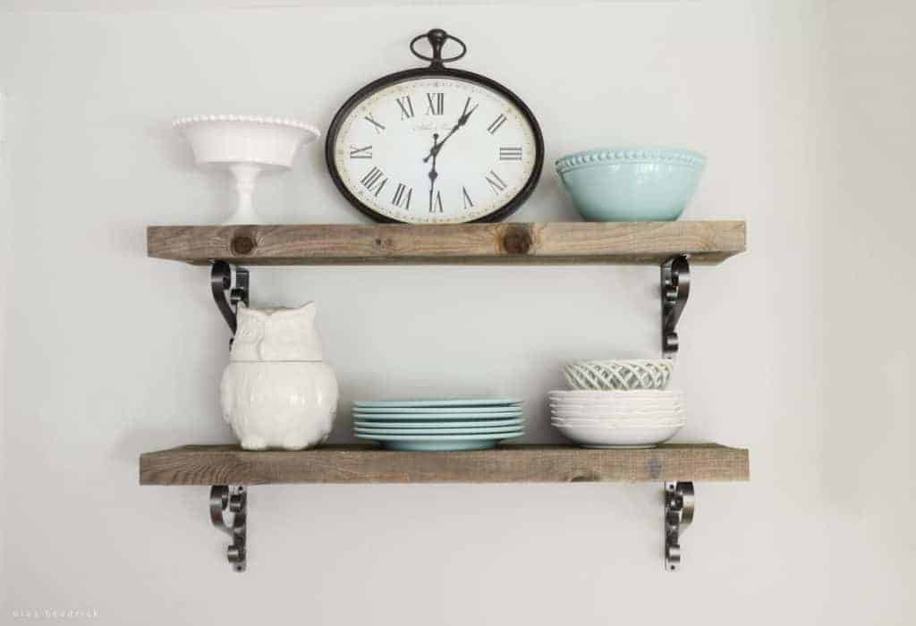 diy rough cut weathered pine kitchen shelves- an easy & quick project