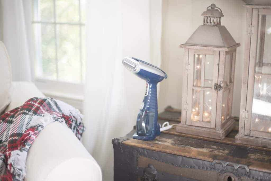 Maintaining White Slipcovers | How I keep our white slipcovers looking neat and clean with a combination of laundering and steaming with The Conair® Turbo ExtremeSteam® Handheld Fabric Steamer.