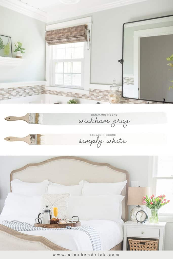A neutral color scheme of Benjamin Moore Wickham Gray and Simply White for a bedroom and bathroom