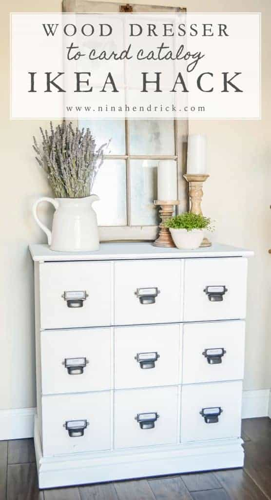 DIY Wood Dresser Card Catalog IKEA Hack Tutorial | See how you can easily and inexpensively get the look of an antique card catalog with this Wood Dresser Card Catalog IKEA Hack Tutorial.