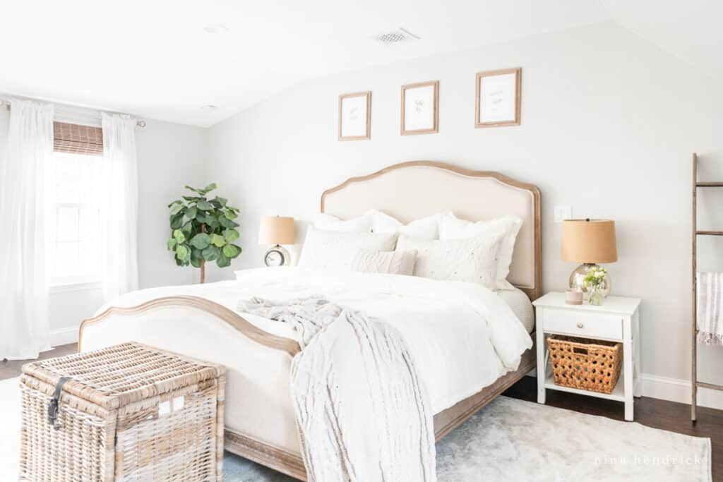 Neutral Bedroom with Wood and Upholstered Romaine bed from Joss & Main