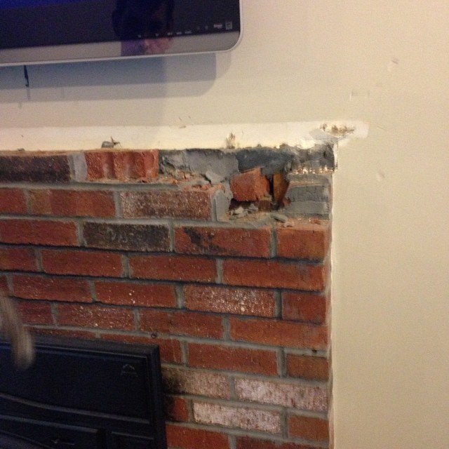 Fireplace demo! #goodbyebrick #newproject