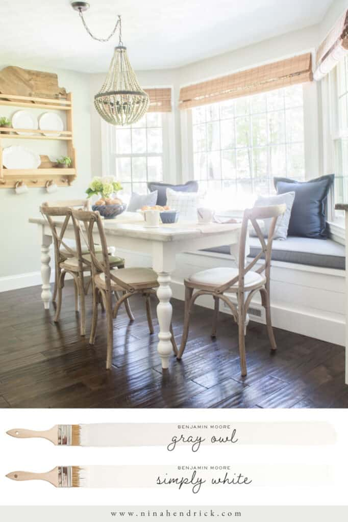 Benjamin Moore Gray Owl painted Breakfast Nook with Simply White Trim