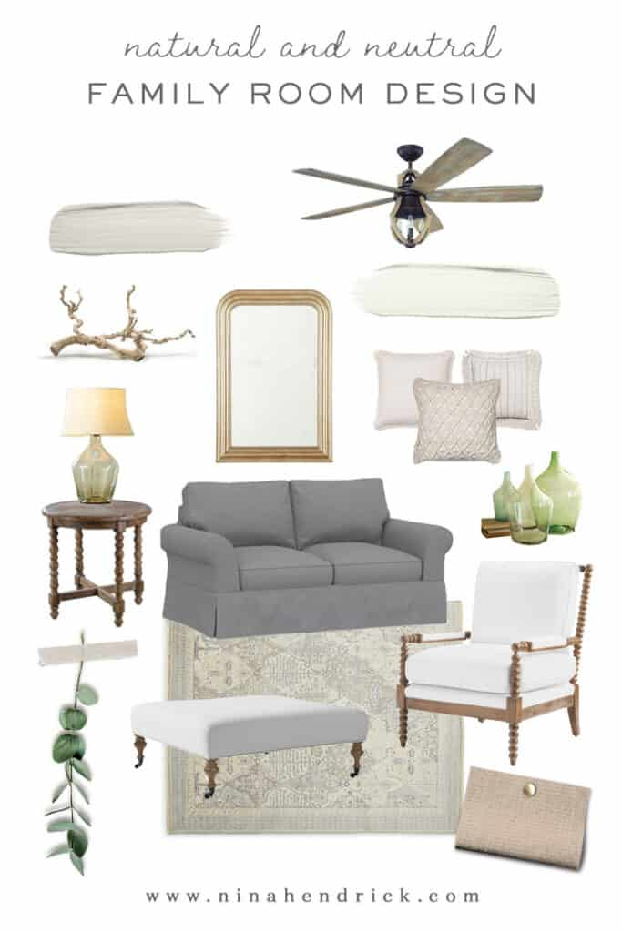 Mood board graphic for a natural and neutral family room design makeover.