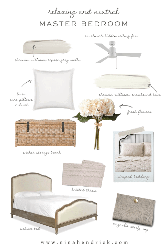 Relaxing and Neutral Primary Bedroom Project Inspiration mood board